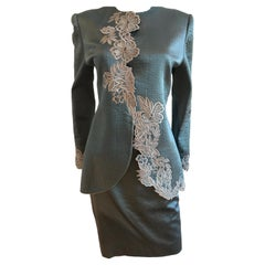 Mary McFadden Couture Silk Embroidered Detail Skirt Suit Set