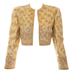 Mary McFadden Couture Silk Embroidered Sequins Diamanté Bolero Jacket,ca. 1980's