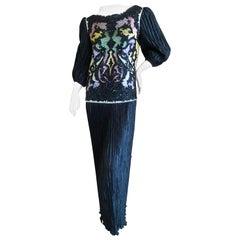 Mary McFadden Couture Vintage Embellished Black Pleated Evening Dress