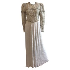 Mary McFadden Embroidered Beaded Plisse Gown