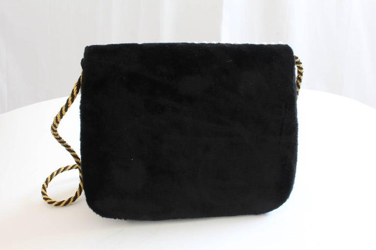 Mary McFadden Evening Bag Purse Embellished Black Velvet in Original Box 1980s  For Sale 6