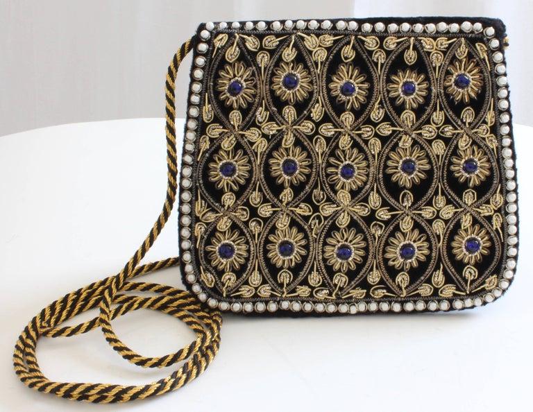 Women's Mary McFadden Evening Bag Purse Embellished Black Velvet in Original Box 1980s  For Sale