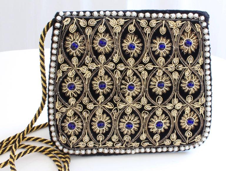 Mary McFadden Evening Bag Purse Embellished Black Velvet in Original Box 1980s  For Sale 1