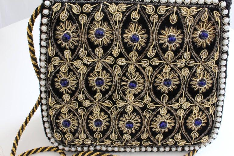 Mary McFadden Evening Bag Purse Embellished Black Velvet in Original Box 1980s  For Sale 2