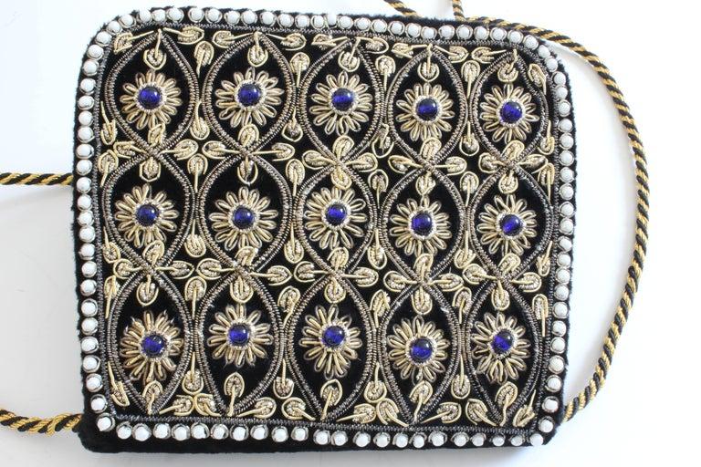 Mary McFadden Evening Bag Purse Embellished Black Velvet in Original Box 1980s  For Sale 3