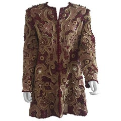 Mary McFadden for Bergdorf Goodman Burgundy Embroidered and Beaded Evening Coat