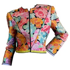 Mary McFadden for Saks Fifth Avenue Quilted Zip Front Floral Jacket