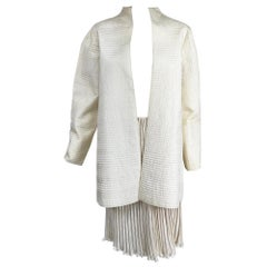Mary McFadden Ivory Quilted Jacket and Fortuny Stye Pleated Skirt Set