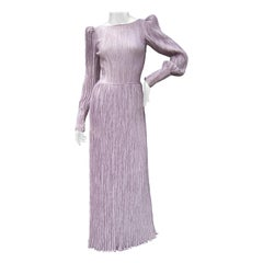 Mary McFadden Lavender Delphos Pleated Backless Gown for Neiman Marcus c 1990