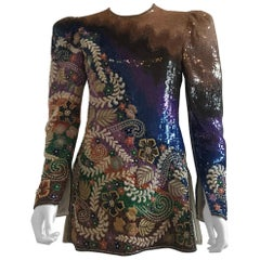 Mary McFadden Multi Color Sequins and Embroidered Top/Mini Dress