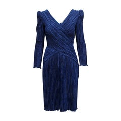 Mary McFadden Navy Blue Pleated Dress