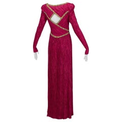 Mary McFadden Numbered Couture Jeweled Raspberry Keyhole Back Gown - XS-S, 1980s
