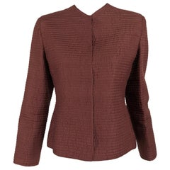 Mary McFadden Quilted Jacket in Rich Raisin Brown 1970s