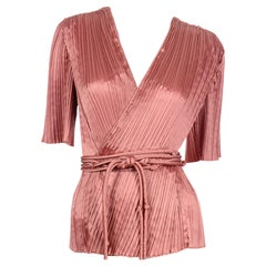 Mary McFadden Vintage Fortuny Style Pleated Wrap Blouse With Belt