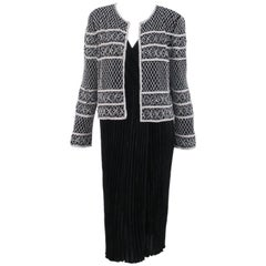 Mary McFadden Wrap Front Cocktail Dress and Beaded Jacket