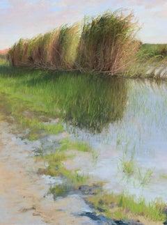 """Flooded Wetlands"" original soft pastel on paper, en plein air landscape, marsh"