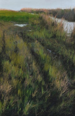 """Marsh Tracks"" original soft pastel on paper, en plein air landscape, field"