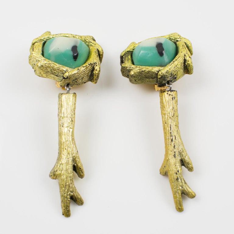 Modernist Mary Oros Oversized Gilt Cast Resin Drop Clip Earrings For Sale