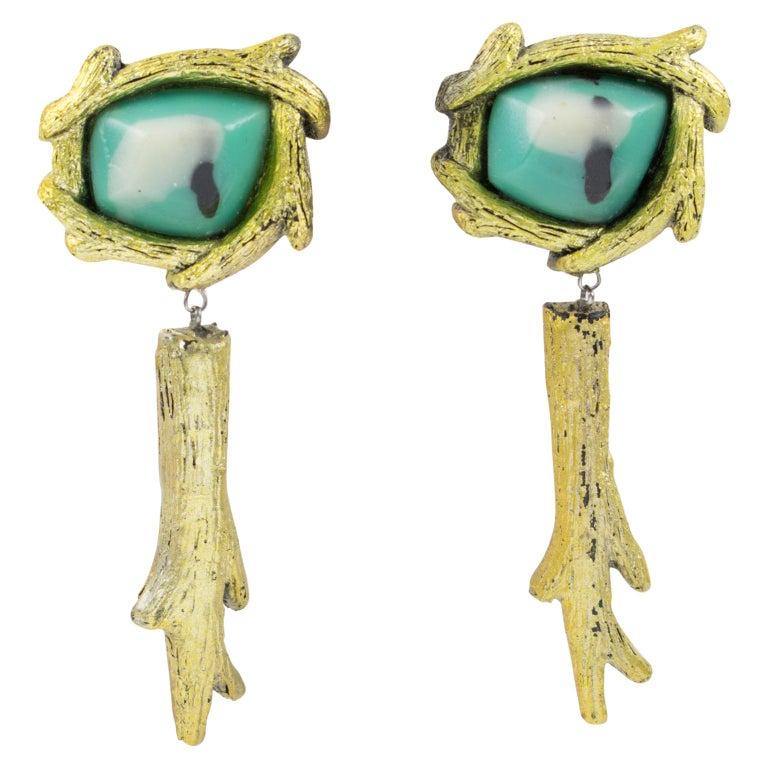 Mary Oros Oversized Gilt Cast Resin Drop Clip Earrings For Sale