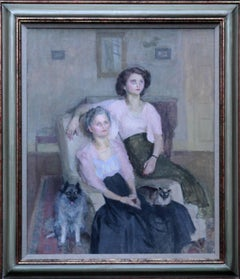 Mrs Ronald Simpson and daughter Jenny - Impressionist portrait oil female artist
