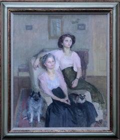 Mrs Ronald Simpson Daughter Jenny - 1940's Impressionist portrait oil painting