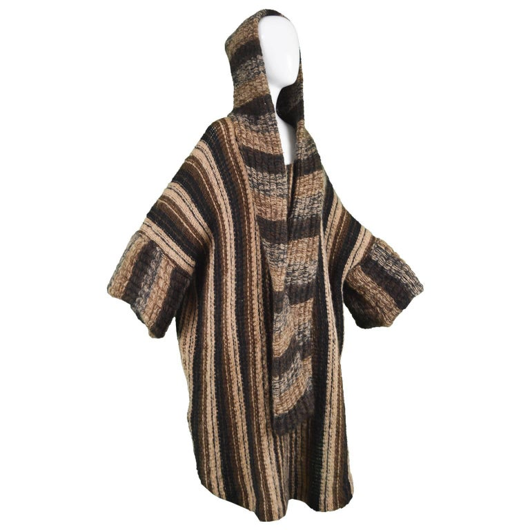 Mary Quant Vintage Brown Avant Garde Knit Poncho Dress with Attached Scarf, 1970