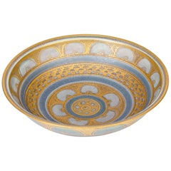 Mary Rich Islamic Influence Gold Lustre Patterned Porcelain Studio Pottery Bowl