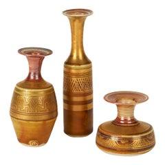 Mary Rich Trio Geometric Gold Lustre Miniature Porcelain Studio Ceramic Vases