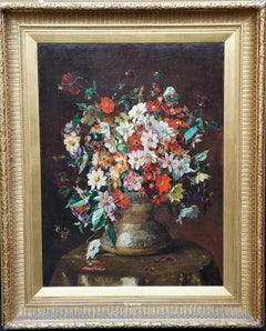 Single Dahlias Bouquet - British Victorian art floral still life oil painting