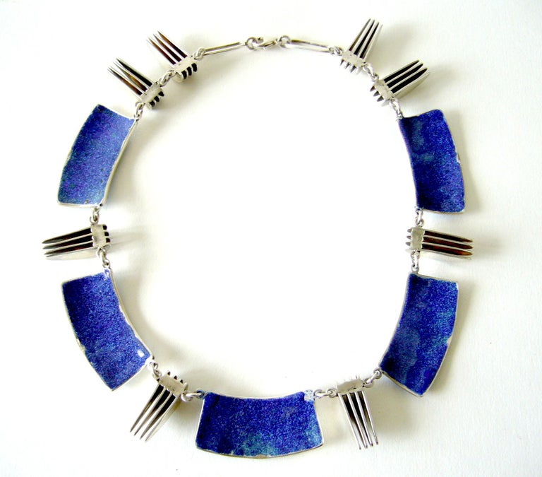 Enamel over sterling linked plaque necklace with eight sterling silver Moderne style elements separating the enamel plaques.  Rare and one of a kind, created by Mary Schimpff of New Smyrna Beach, Florida.  Necklace is made of the utmost quality and