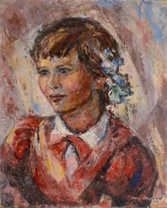 Mid Century Fauvist Portrait of a Girl