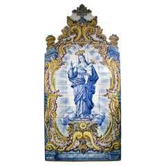 Mary with Child Portuguese Glazed Ceramic Tile Panel Signed M. M. Antunes