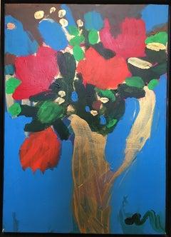 """""""Bouquet de Rose et Vase Jaune Rose Bouquet and Yellow Vase,"""" Acrylic signed"""