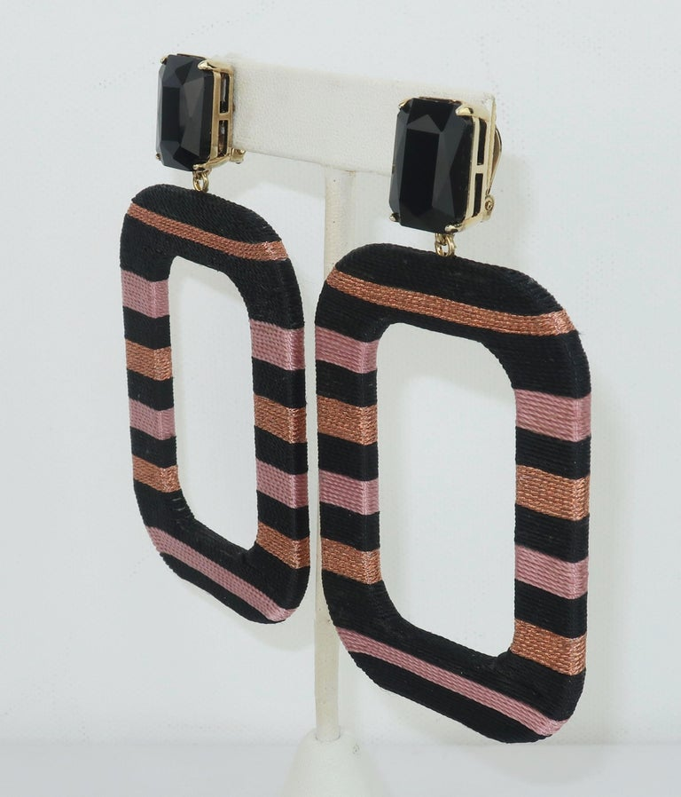 Artisan Maryjane Claverol Black & Metallic Textile Earrings For Sale