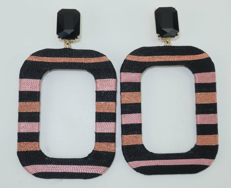 Women's Maryjane Claverol Black & Metallic Textile Earrings For Sale