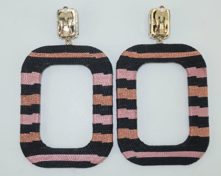 Maryjane Claverol Black & Metallic Textile Earrings For Sale 1