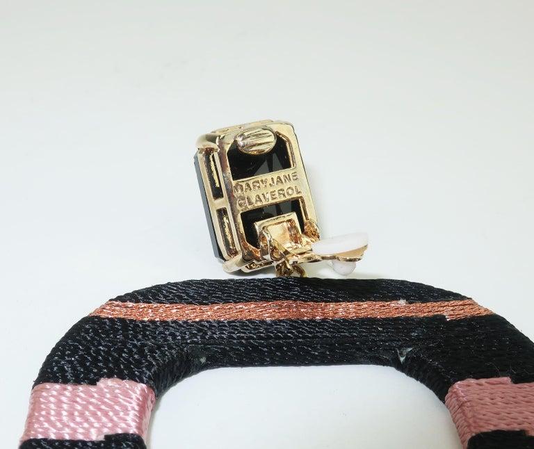 Maryjane Claverol Black & Metallic Textile Earrings For Sale 2
