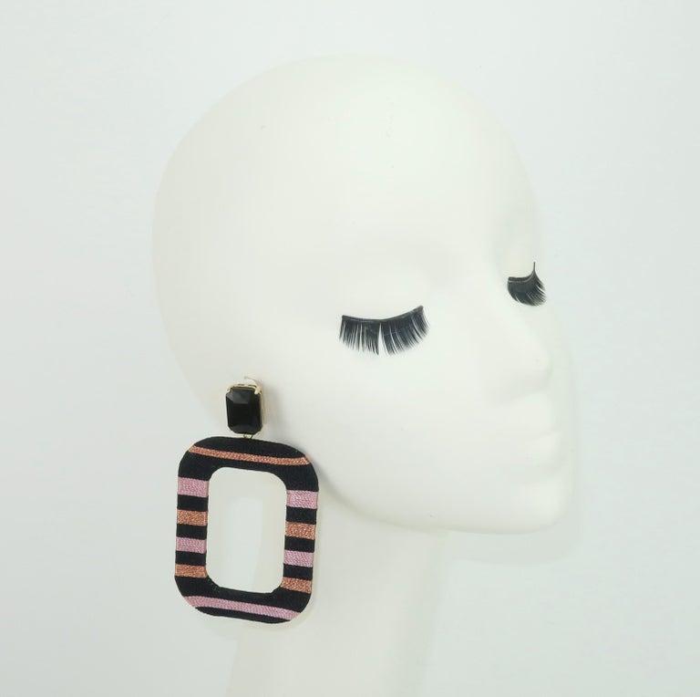 Maryjane Claverol Black & Metallic Textile Earrings For Sale 3