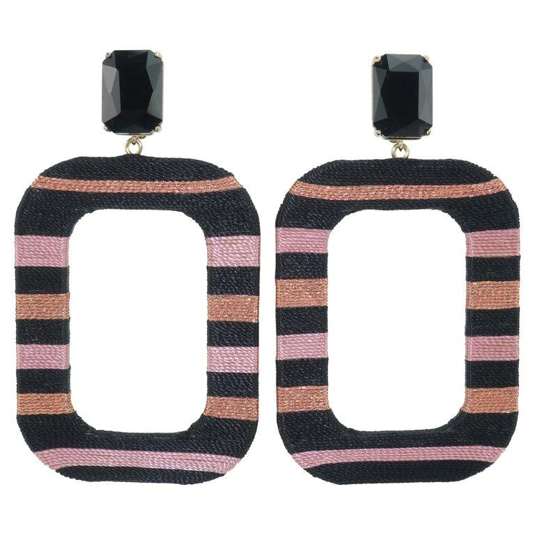 Maryjane Claverol Black & Metallic Textile Earrings For Sale