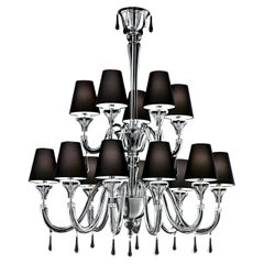 Maryland 5587 14 Chandelier in Glass with Black Shade, by Barovier&Toso