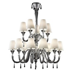 Maryland 5587 14 Chandelier in Glass with White Shade, by Barovier&Toso