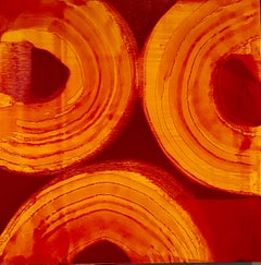 Abstract Red Persimmon Oil Painting on Panel Marylyn Dintenfass Modernist