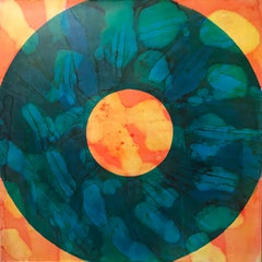 """""""Kodak"""" Abstract pop oil painting in blue, orange and yellow"""