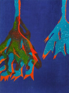 """""""Belladonna Blew"""" Contemporary Flower Print in Ultramarine Blue"""