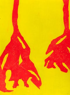 """""""Crimson Trumpet"""" Contemporary Flower Print in Yellow and Red"""