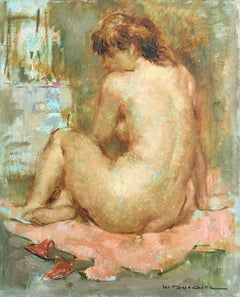 Nude in Repose, Original Oil Painting, Maryse Ducaire Roque