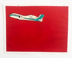 """""""Airplane""""- Red Acrylic & Ink on Paper"""