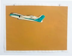 """""""Airplane""""- Yellow Acrylic & Ink on Paper"""