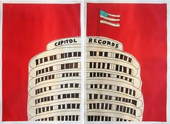 """""""Capitol Records Building-Diptych """"-Red Acrylic & Ink on Paper Framed"""