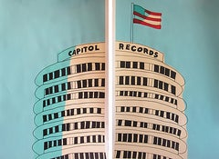 """""""Capitol Records Building-Diptych """"-Teal Acrylic & Ink on Paper Framed"""